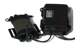 DEN1 data logger (left) and supplied breakout box for sensor connection (right)