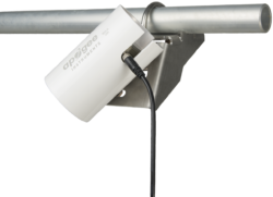 Angled mounting bracket mounted to a pipe with angle-mounted solar shield.